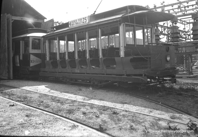 Car 36 at the Wildwood car house in 1944. (Walter Hulseweder Photo)