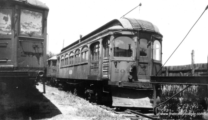 North Shore Line wood car 201, which looks like it is headed for the scrapper (probably in the late 1940s). (Donald Ross Photo)