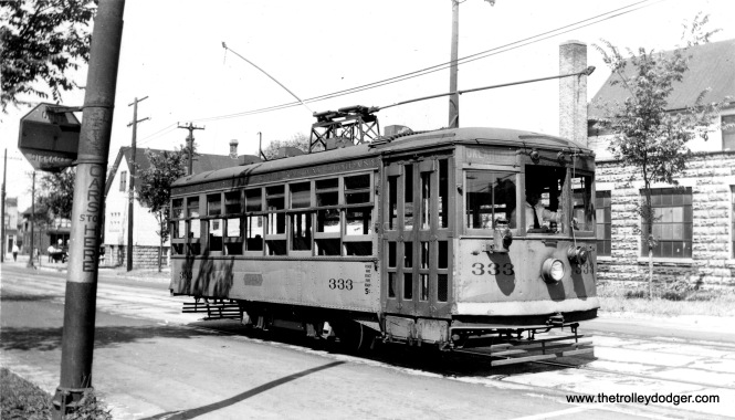 "North Shore Line ""Birney"" car 333 circa 1947. (Donald Ross Photo) Larry Sakar says this is ""southbound at 5th & Chase."""