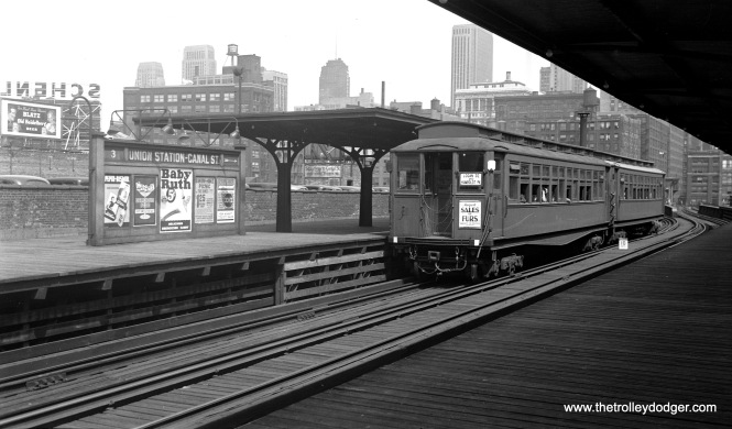"CRT ""Met"" car 2847 at Canal in August 1938. Riders could change here for Union Station. This station remained in service until June 1958, when the Congress rapid transit line opened."