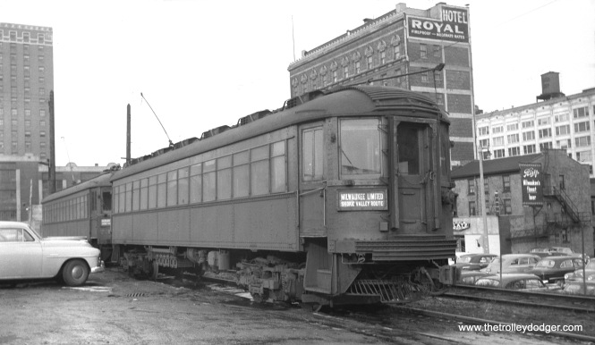 "North Shore Line car 409 at the Milwaukee terminal yard in February 1952. (Donald Ross Photo) Don Ross adds, ""North Shore 409 at the Milwaukee station yard is interesting. That car had no smoking area and it was completely open. We used that car for our ERA meetings and the North Shore people helped to make sure it was set up."""