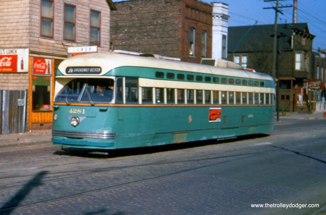 "CTA Pullman-built PCC 4281 on Route 36 - Broadway-State. Andre Kristopans: ""4281 is on 119th east of Morgan."""