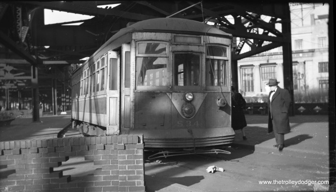 Queensboro Bridge car 534 on January 16, 1949.