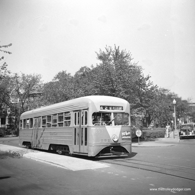 Capital Transit Company pre-PCC 1053 is on line 42 - Mt. Pleasant in Washington, D. C. on September 26, 1948. This was probably on a fantrip.