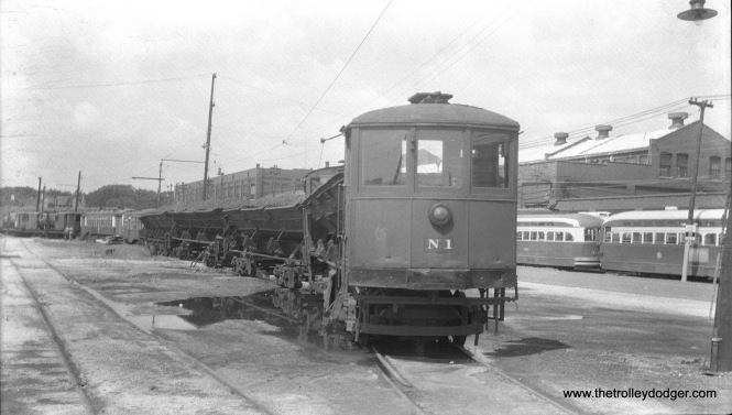 CTA side dump car N-1 at South Shops in October 1956. (Walter Hulseweder Photo)