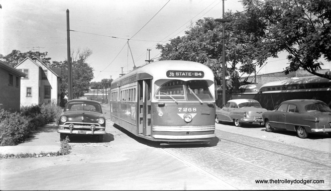 CTA 7268 is signed for Route 36 - Broadway-State and appears to be near Devon Station (car barn) in 1955. (Walter Hulseweder Photo)