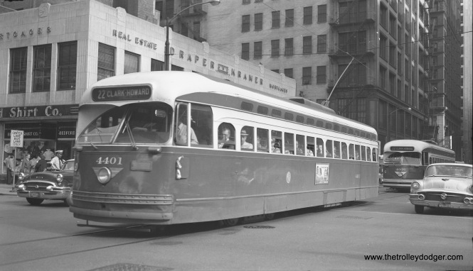 CTA 4401, with 4376 trailing, is heading north on Dearborn via Route 22 in 1955.