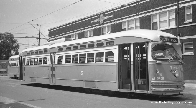 CSL 7090 is at 81st and Halsted, south end of Route 22, in the late 1940s.