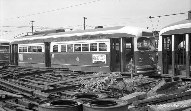 CTA 7041, possibly in dead storage at South Shops on June 30, 1955.