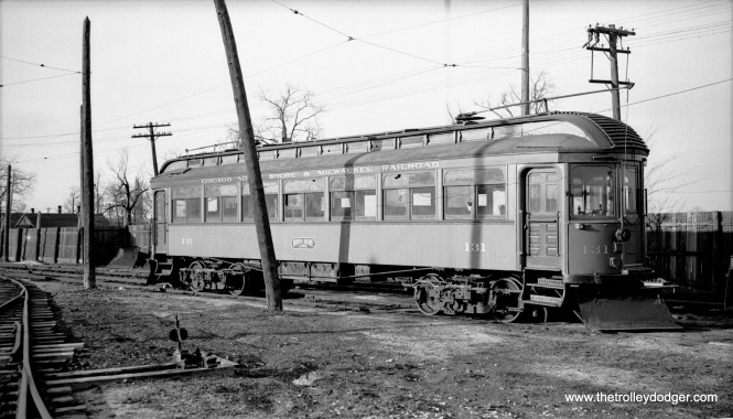 "Don's Rail Photos says that North shore Line wood car 131 ""was built by Jewett Car in 1907. It was rebuilt in 1914 and rebuilt as a plow in 1930. It was retired in 1935 and scrapped in 1942."""
