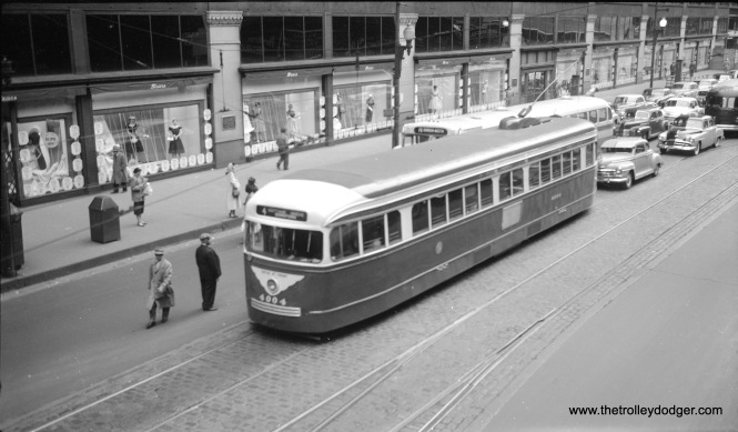 CTA 4004 running on State Street, signed for Route 4 - Cottage Grove, in the early 1950s. (Walter Broschart Photo)