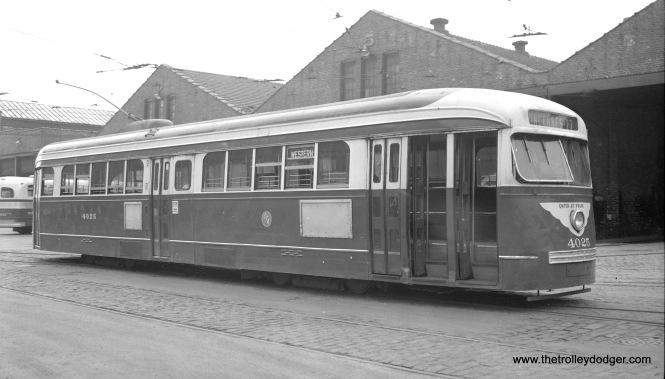 CTA 4025 at South Shops on June 30, 1955.
