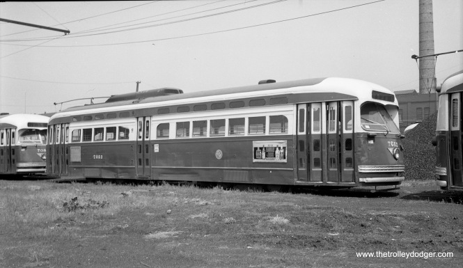CTA 7052 appears to be in dead storage at South Shops on June 30, 1955. Note the lack of overhead wire.