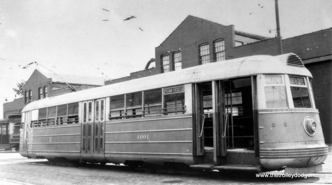 CSL experimental pre-PCC 4001 at South Shops in 1934. Like its counterpart 7001, it was used in service that year to bring people to A Century of Progress, the Chicago World's Fair.