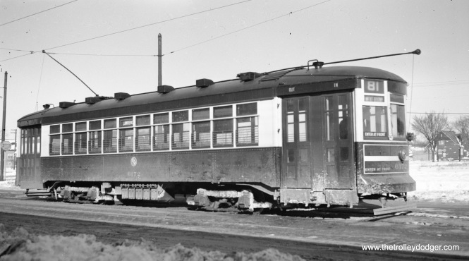 CTA 6172 is at Lawrence and Austin on February 26, 1950, running on Route 81.