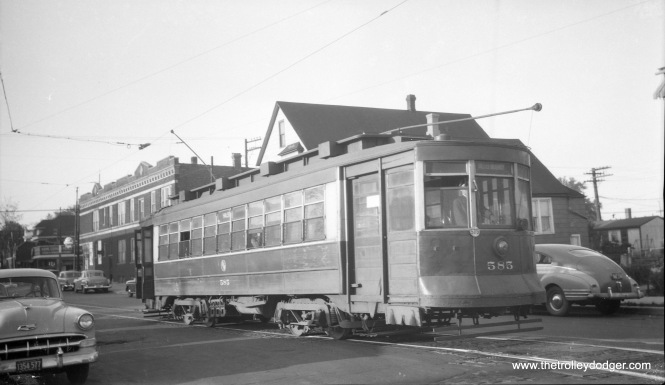 "CTA Pullman 585 is signed for Halsted and Waveland in February 1954, which suggests it is running on Route 8 - Halsted, which was bussed three months later. Andre Kristopans: ""585 is on Emerald south of 79th."""