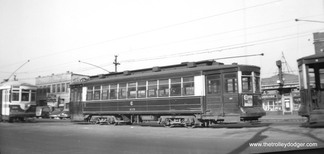CTA 415 at Cermak and Kenton. The date given is August 2, 1949, but that must be wrong, since there is a Chicago & West Towns streetcar at left and the 415 still has a CSL logo. So perhaps 1947 would be more like it as the West Towns streetcars quit in April 1948.