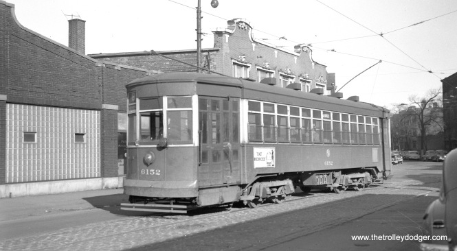 CTA 6152 at Waveland and Halsted, north end of the Halsted car line in April 1952.