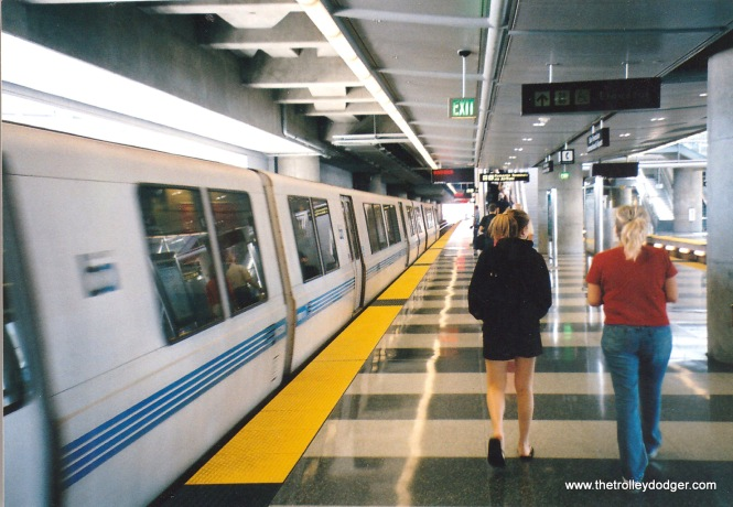 A BART train arriving at the SFO International Airport in 2004.