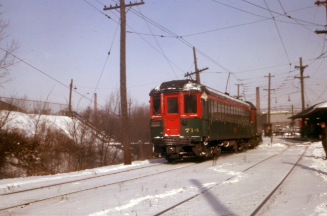 North Shore Line 714 on January 20, 1963, the last full day of service before abandonment. 714 is now at the Illinois Railway Museum.
