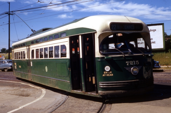 CTA PCC 7215 on July 9, 1957. Notice the large dent on the front of the car. In our previous post One Good Turn (January 20, 2017), we ran another picture of this car taken on August 21, 1956 showing the same dent. Chances are, CTA chose not to repair this, as streetcar service was being phased out. This car was retired about two weeks before the Wentworth line was converted to bus on June 21, 1958.