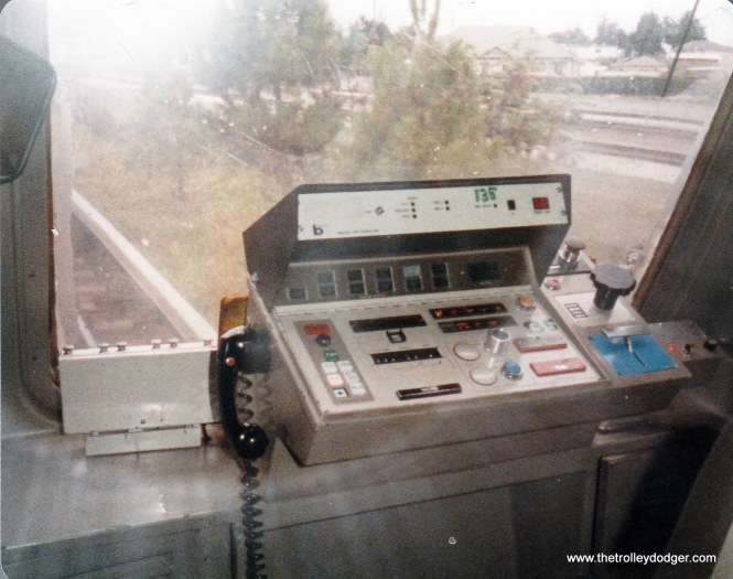 The operator's cab in a BART car, all computer controlled, like San Diego.