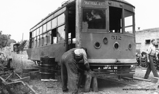 "Here's a mystery photo, showing a Birney car (#512) being worked on, signed for Fruitridge Avenue. My guess is this may be the Terre Haute Indianapolis & Eastern Traction Company in Indiana. If so, Don's Rail Photos says that Birneys 490 thru 514 were ""built by American Car Co in December 1919, (order) #1228 as THI&E 490 thru 514."" There is a Fruitridge Avenue in Terre Haute. (Kenneth Gear Collection)"