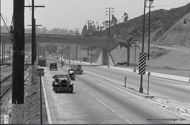 The brand-new Hollywood Freeway shows up in the movie. This is the portion (Cahuenga Pass) where the Pacific Electric ran in the expressway median from 1940 to 1952.