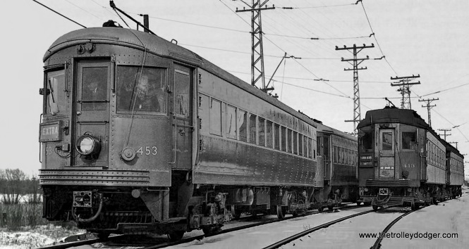 At left CA&E 453, built by St. Louis Car Company in 1945, and at right, 413, built by Pullman in 193.