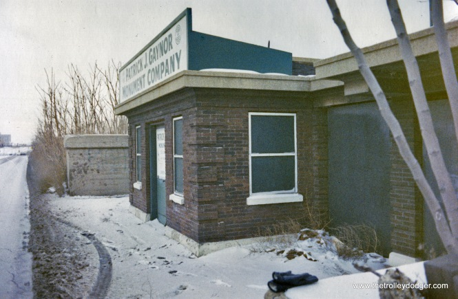 The entrance to the former Calvary station, as it appeared in 1970 when it was being used by a monument company. (J. J. Sedelmaier Photo)