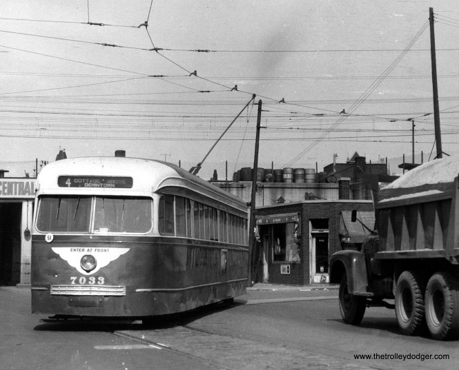 CTA prewar PCC 7033 at 115th and Cottage Grove, the south end of Route 4, circa 1952-55. In the background, you can see the adjacent Illinois Central Electric embankment.