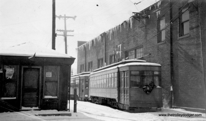 Chicago & Calumet District Transit Company (aka Hammond, Whiting & East chicago) car 70 in Hammond. In our post More Hoosier Traction (September 2, 2015), we ran another photo that appears to have been taken at the same time as this. If so, the date is February 1939. There is some damage to this old print, in the area around car 70's headlight. Trolley service here ended in 1940. (Richard J. Anderson Photo)
