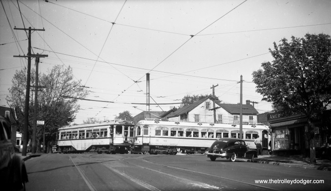 Lehigh Valley Transit cars 701 (left) and 812 (right) on a fantrip, some time prior to the 1951 abandonment of interurban service on the Liberty Bell route.