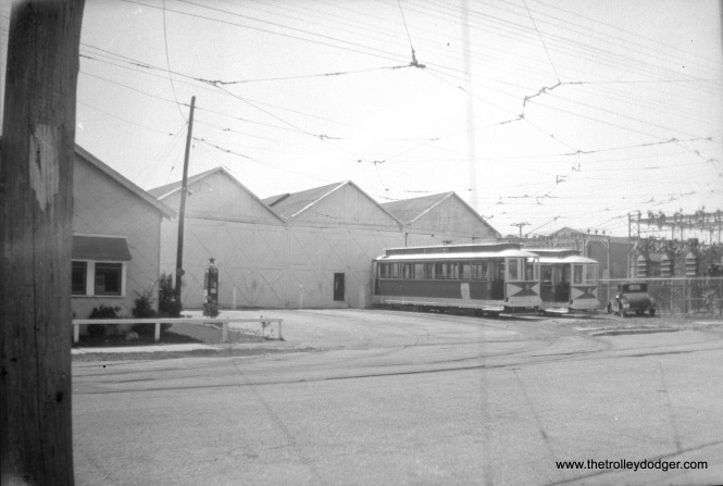 Five Mile Beach electric Railway cars 22 and 27 at the Wildwood carhouse on May 30, 1945, shortly before abandonment. (Walter Hulseweder Photo)