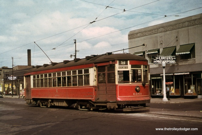 CTA car 6186, working a southbound trip on Route 9 - Ashland, has just arrived at the south end of the line at 95th Street in May 1951. The view looks northeast.