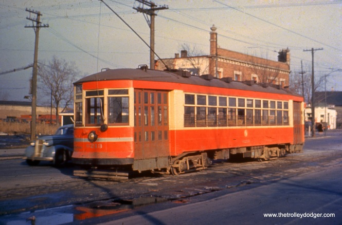 CTA 6213 at 95th and State Streets in 1949.