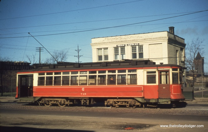 CTA 745 at 4544 W. 26th Street in March 1950. The cross-street, described as Kenton, is not quite accurate as Kenton does not run in this area, which is the border between Chicago and Cicero.