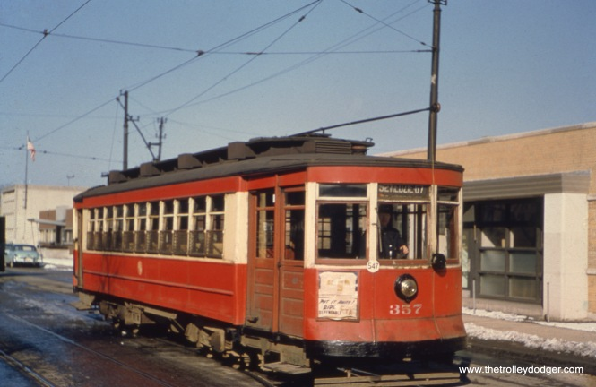 CTA 357 at California and Roscoe in March 1951 on Route 52.