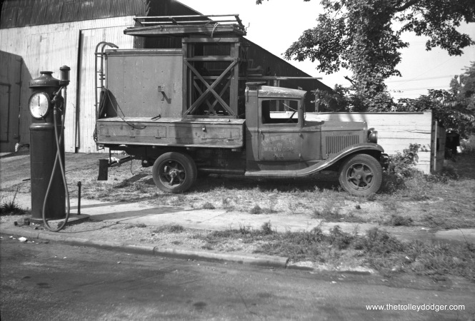 The Five Mile Beach Electric Railway line truck on May 30, 1945, at the Wildwood car house around the time of abandonment. (Walter Hulseweder Photo)