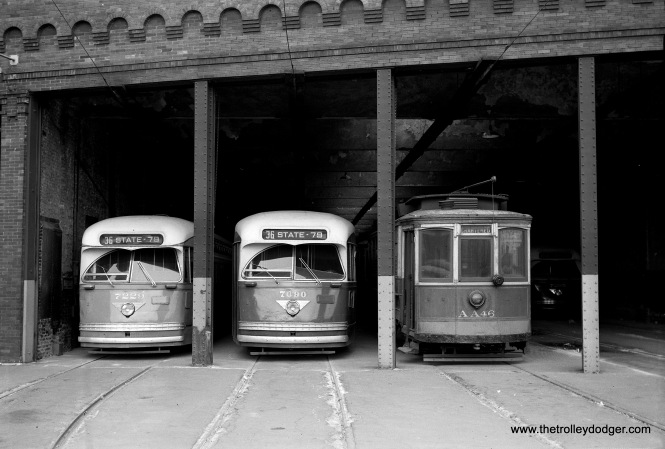 "Chicago Transit Authority PCCs 7229 and 7090 at 77th and Vincennes, along with salt spreader AA46. The date was May 16, 1954, when Central Electric Railfans' Association held a red car fantrip. Don's Rail Photos: ""AA46, salt car, was built by St Louis Car Co in 1903 as CUTCo 4779. It was renumbered 1250 in 1913 and became CSL 1250 in 1914. It was rebuilt as salt car in 1931 and renumbered AA46 on April 15, 1948. It was retired on December 27, 1955."" (James C. Barrick Photo)"