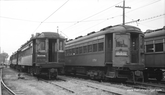 """Views of North Shore Line #189 and 150 at Highwood Shops, Saturday noon, August 7, 1955."" (Robert Selle Photo)"