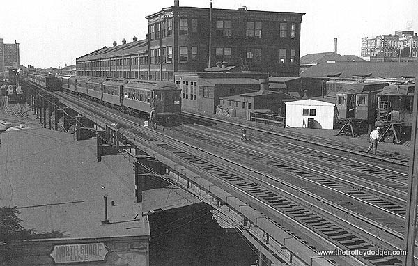 Wilson Yard and Shops. Note the North Shore Line freight station at lower left. (J. J. Sedelmaier Collection)