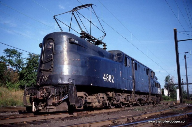 Photo 1. NJDOT GG-1 #4882 awaits her next assignment at South Amboy, NJ in 1980.