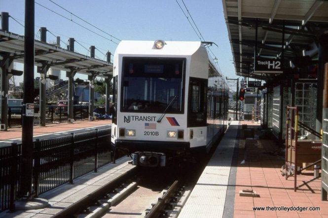 Photo 1 & 2. NJ Transit Hudson-Bergen LRV #2002 at Hoboken, NJ on September, 29, 2002.