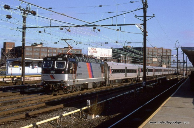 Photo 1. NJT ALP-44M #4422 at Harrison, NJ on January 12, 2002. NJT's ALP-44s were built by Asea Brown Boveri, a Swedish company starting in 1990. The last one was built in 1996 and by 2012 all were off the active roster and in long term storage.