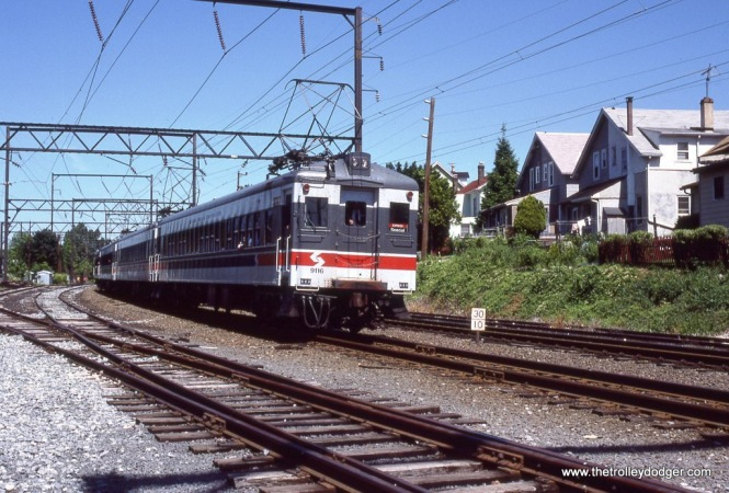 SEPTA Ex-Reading Blueliner MU train on a Philadelphia Chapter NRHS special during a photo stop at Glenside, PA on June 5,1988.