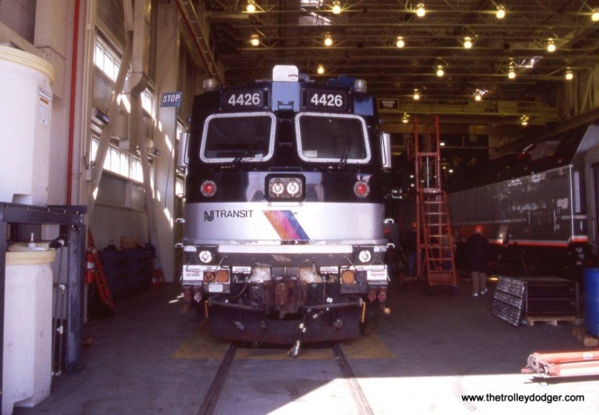 Photo 10. NJT ALP-44M #4426 at the locomotive shop, Meadows Maintenance complex. This locomotive will be in long term storage soon. 4-14-12.