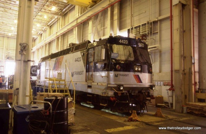 Photo 11. NJ TRANSIT ALP-44M #4423 inside the MMC locomotive shop Kearny, NJ on April 4, 2012.