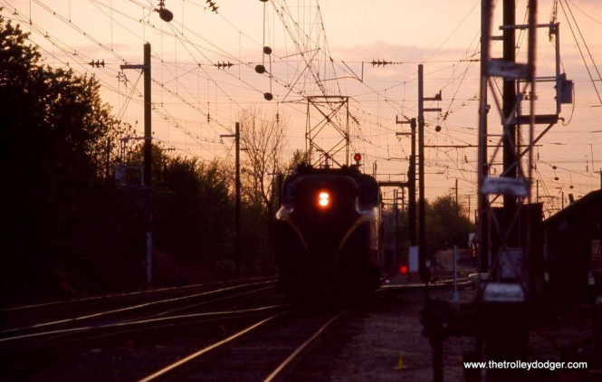 Photo 12. GG-1 #4883, South Amboy NJ at sunset. 5-4-82.