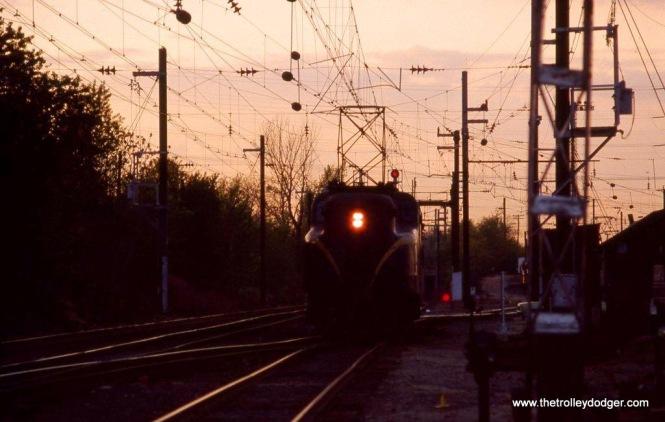 Photo 12. GG-1 #4883, South Amboy NJ at sunset. 5-4-82.